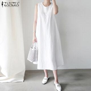 ZANZEA Đầm Sơ Mi Nữ Cotton Dài Cổ Điển Đầm Midi Hở Vai Không Tay Cộng thumbnail