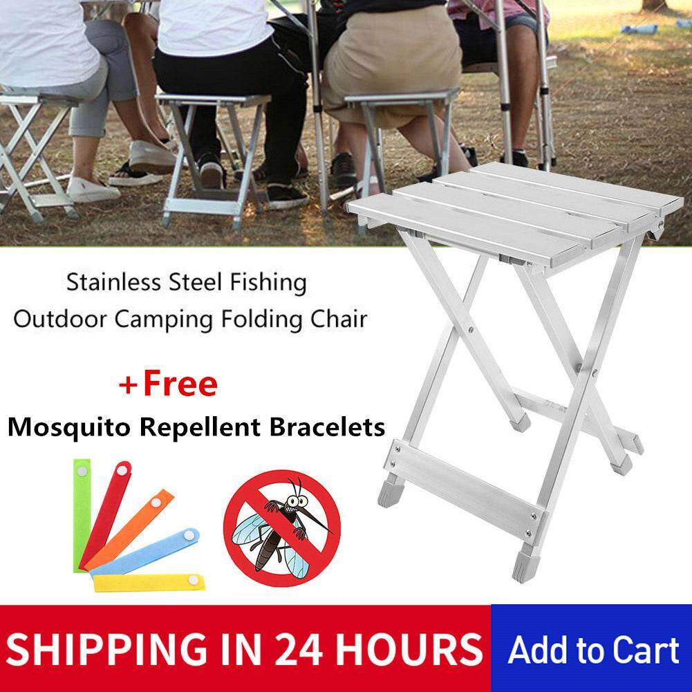 0a94a66601 [Free Gift] BestGroup Portable Stainless Steel Fishing Folding Chair  Outdoor Camping Folded Seat