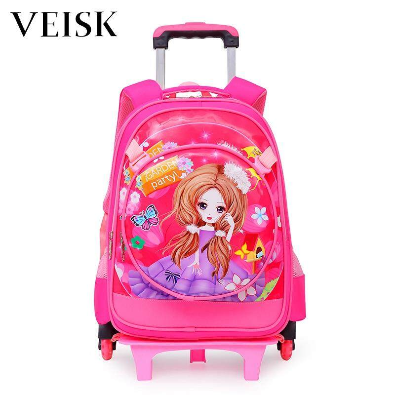 Veisk Boys Burden Second Round Six-wheeled Primary School Students Rod Bag School Bags