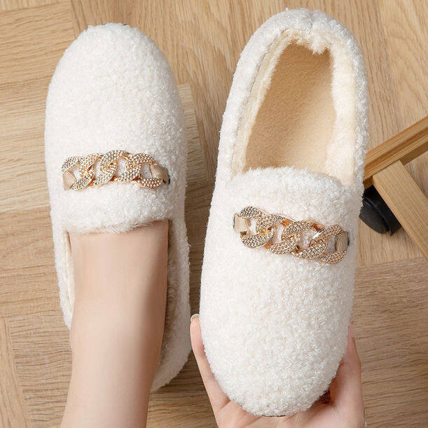 ✁Giày Cotton Hộ Gia Đình Giày Doug Qiu Dong Maomao Sandals Han Edition Đế Bằng Ấm Bên Ngoài Giày Dành Cho Các Bà Mẹ Nhung Đỏ giá rẻ