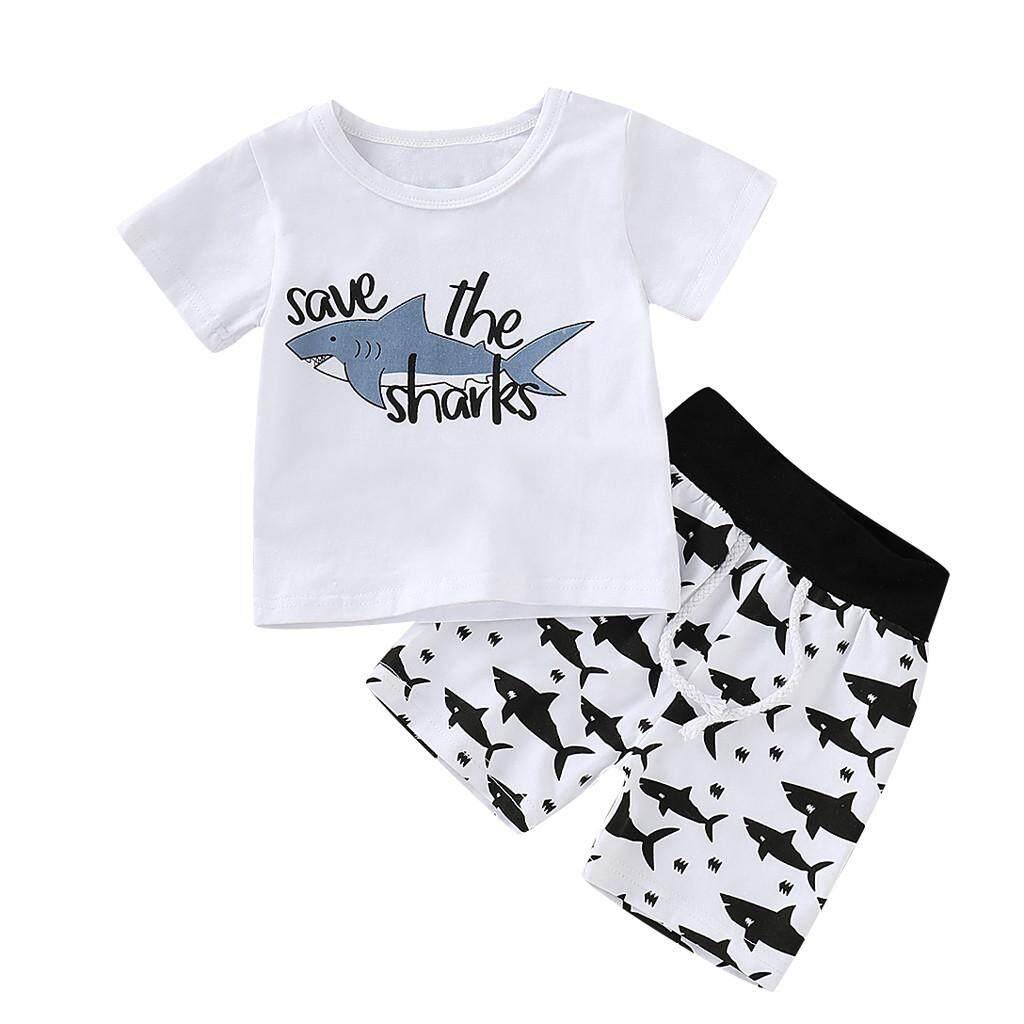 Image 2 for Aynshop ทารกแรกคลอดการ์ตูน SHARK T เสื้อเสื้อกางเกงสั้นชุดเสื้อผ้า