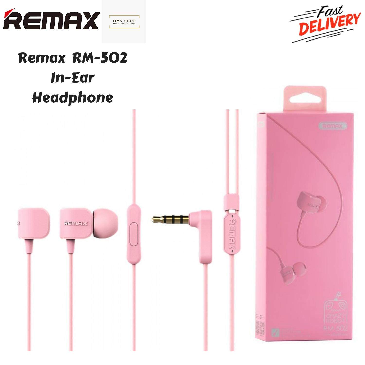 Original Remax RM-502 Stereo Music Earbuds 3.5mm Heavy Bass Wired Crazy Robot Earphone