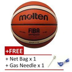 [100% Original] Molten Gg7x Fiba Approved Composite Leather Basketball Free Gas Inflator And Net Bag By Badminton Zone.