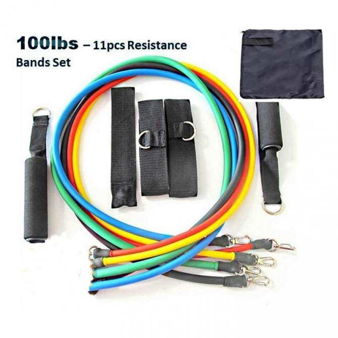 100lbs 11pcs Resistance Bands 100% Quality Elastic Yoga Gym TRX Band Muscle Workout Ropes