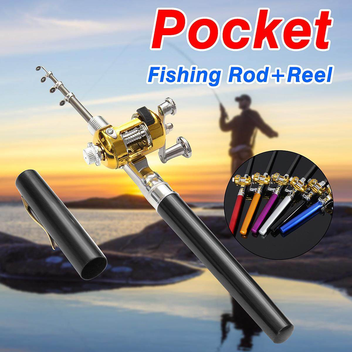 2 PCS Mini Portable Pocket Fish Pen Shape Aluminum Alloy Fishing Rod Pole Reel Black -