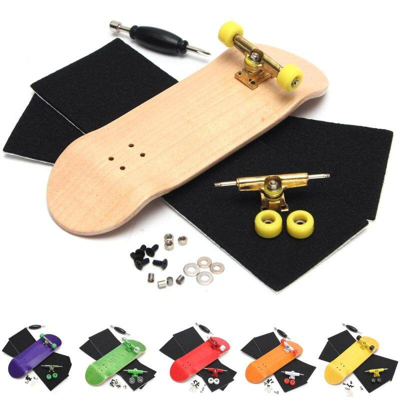 2 Set Basic Complete Wooden Fingerboard Finger Scooter with Bearing Grit Box Foam Tape - intl