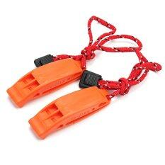2pcs Orange Dual-Frequency Outdoor Survival Accessory Clip Whistle For Rescue - Intl By Lgpenny.