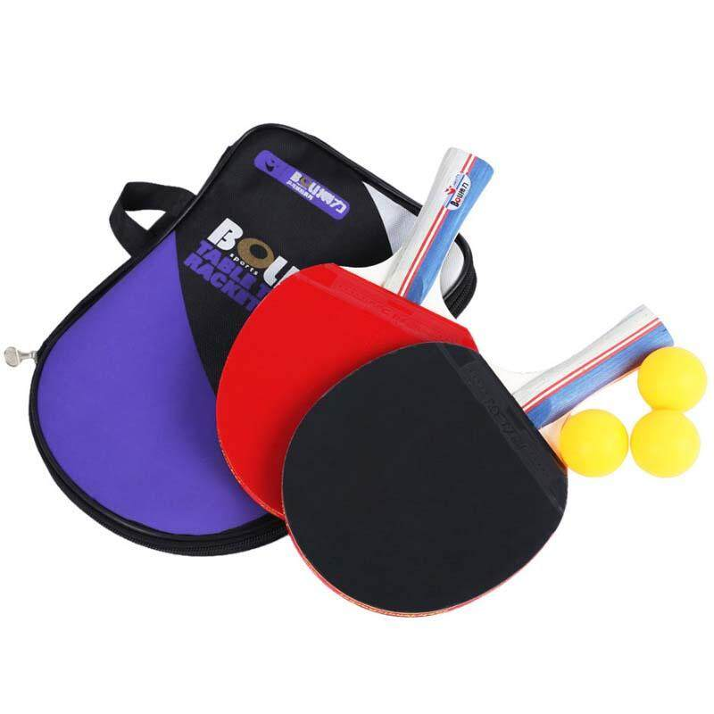 Hình ảnh 2pcs Table Tennis Racket Ping Pong Paddle Long Handle Professional Carbon Table Tennis Racket With 3 Balls 1 Gift Bag - Long Handle - intl