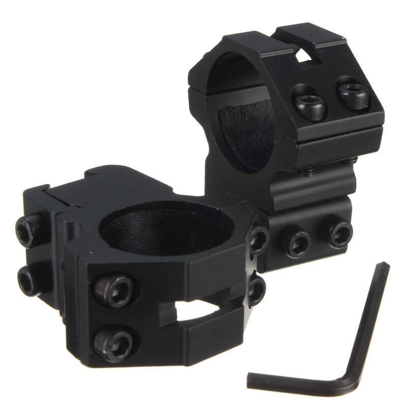 "Yika 2X 25.4mm 1"" Medium Profile Scope Rings Fit 20mm Weaver Picatinny Rail Mount"