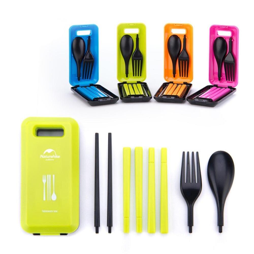3 Pcs Cutlery Set Portable Tableware Box dengan Kombinasi Sendok Garpu Sumpit untuk Perjalanan Berkemah Piknik