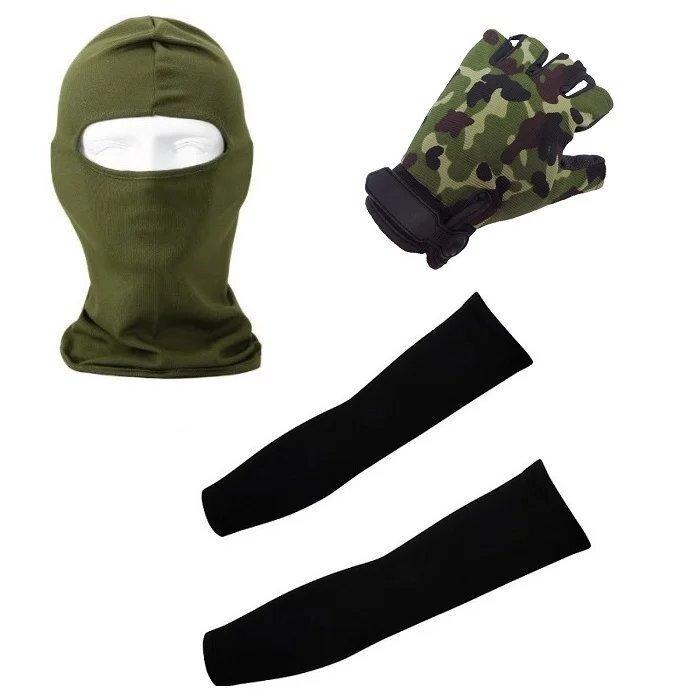 3 Sets Outdoor Sport Set Half Finger Gloves + Arm Cooling Sleeves + Balaclava Full Face