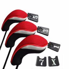 3&5 Wood Driver Head Covers Set Replacement Red By Fashionday.
