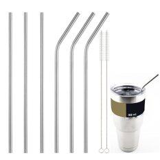 3X Fashion Stainless Steel Straws Reusable 0.5 inch Extra Long Drinking Straws Silver