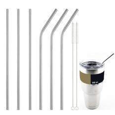 Hình ảnh 3X Useful Stainless Steel Straws Reusable 0.5 inch Extra Long Drinking Straws Set Silver