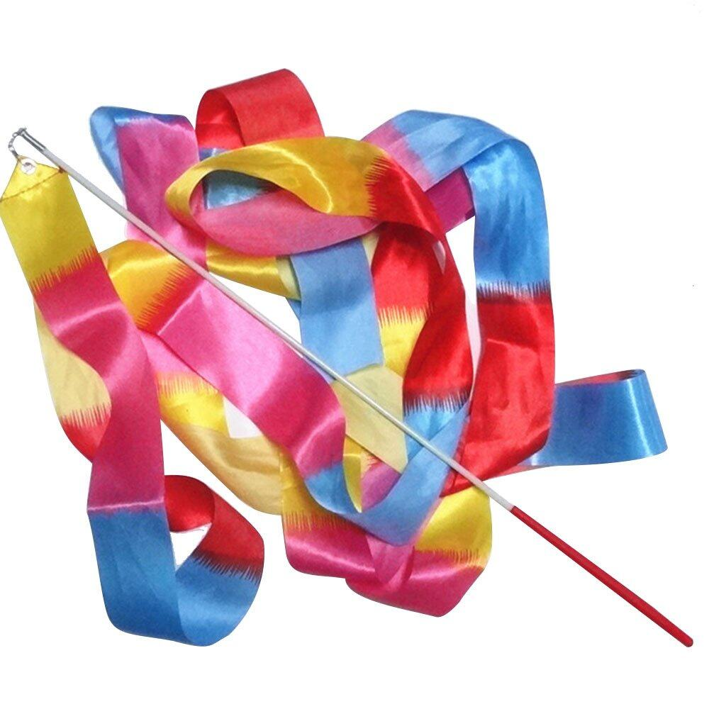 4m Stain Twirling Dance Gym Art Rhythmic Gymnastics Ribbon Streamer with Stick Wand Mixed Color - intl