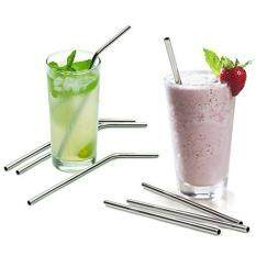4X Stainless Steel Straws Reusable 0.5 inch Extra Long Drinking Straws Set Silver
