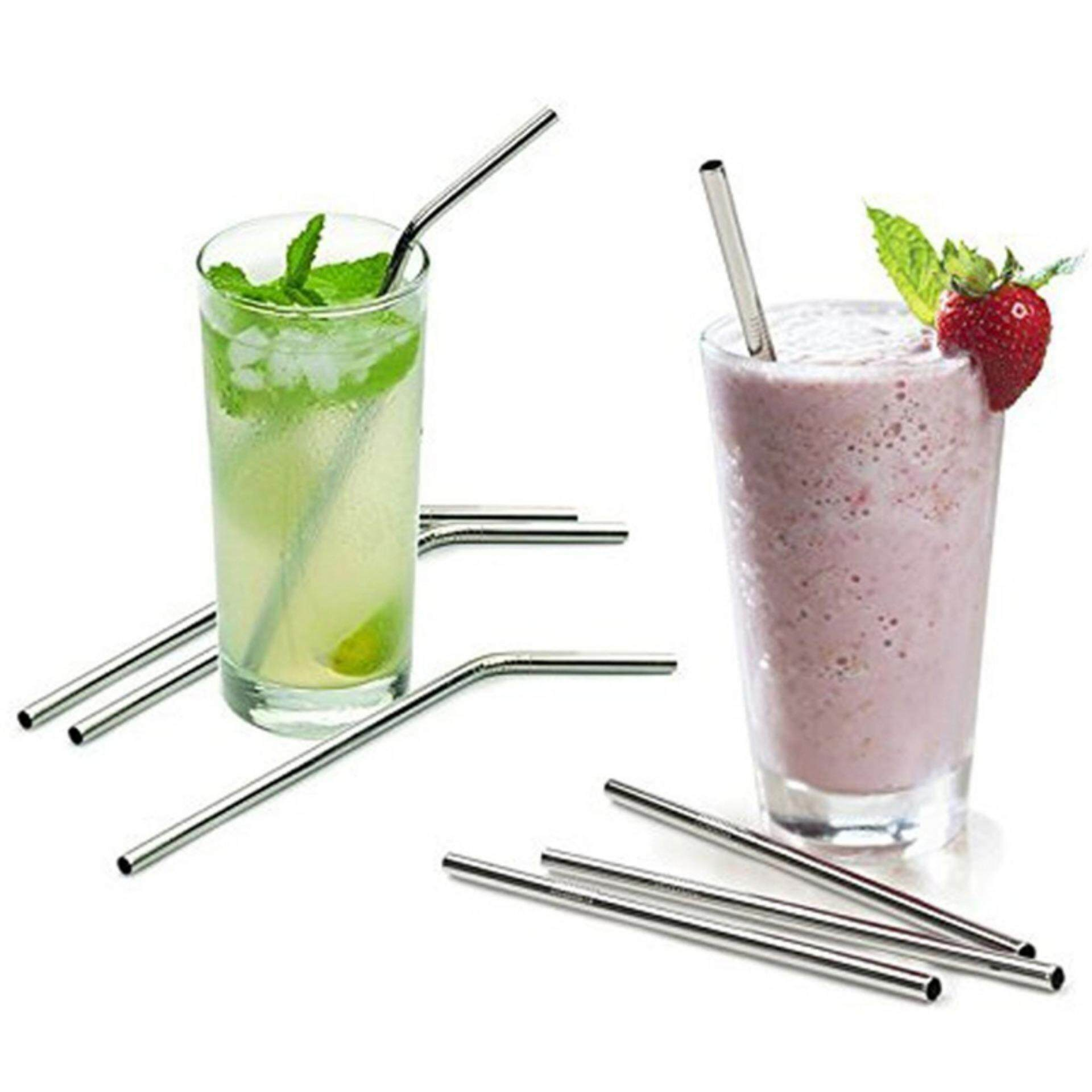4X Stainless Steel Straws Reusable 0.5 inch Extra Long Drinking Straws Silver - intl