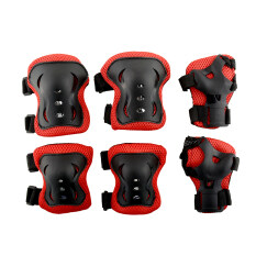 6pcs Kid Roller Skating Skateboard Riding Cycling Knee Elbow Wrist Protective Adjustable Guard Pad Gear Red&black By Qniglo Sdn Bhd.