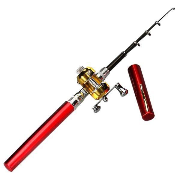 6 Set Mini Saku Portabel Bentuk Pena Aluminium Paduan Ikan Pancing Tongkat Tiang Kumparan Merah-Internasional