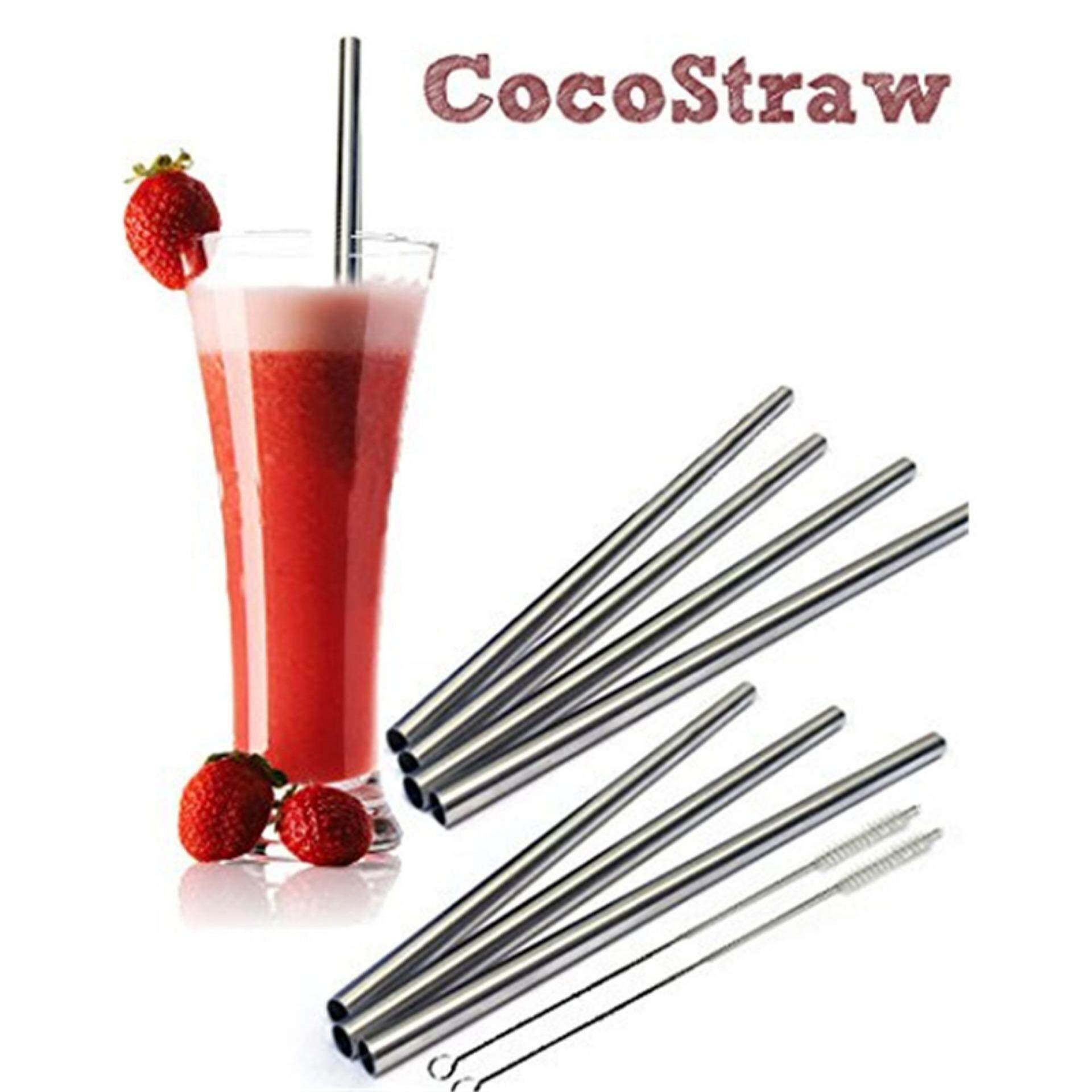 8X Stainless Steel Straws Set Reusable 8.5 inch Short Frozen Drinking Straws Silver - intl