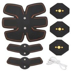 Abdomen+arm Lap Muscle Stimulator Training Electrical Body Shape Trainer Abs Set - Black Orange By Freebang.