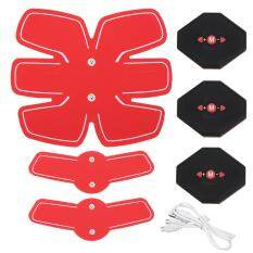 Abdomen+arm Lap Muscle Stimulator Training Electrical Body Shape Trainer Abs Set - Red By Freebang.