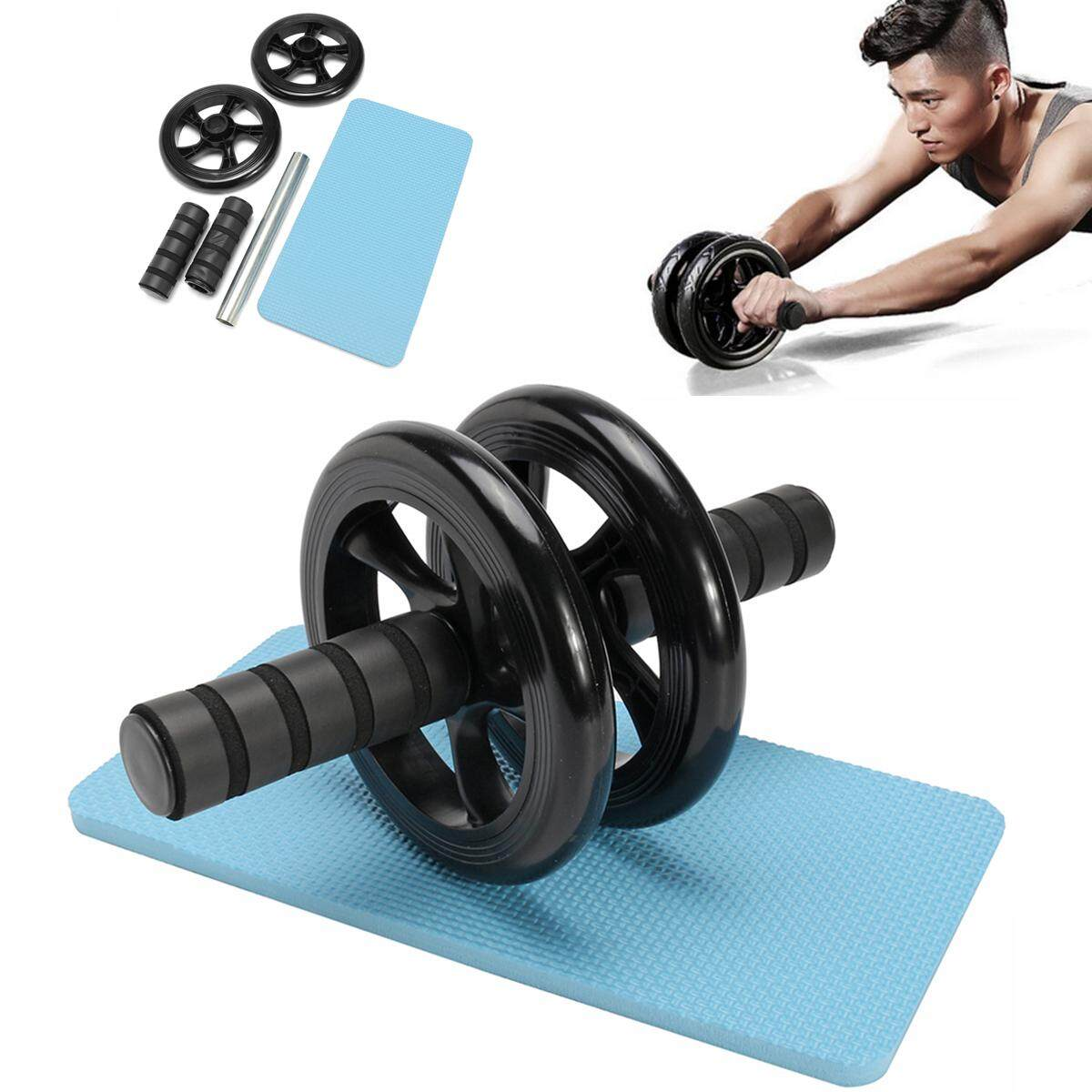 Low Cost Abdominal Exercise Roller W Knee Pad Mat Abs Workout Fitness Dual Wheel Gym Tool Intl