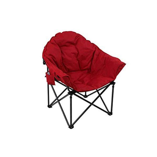 Alpha Camp Moon Saucer Folding Camping Chair With Cup Holder And Carry Bag  Red Intl