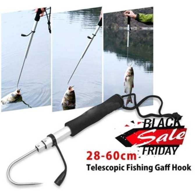 Arctic Land Professional Fishing Accessories Tackle Telescopic Fish Gaff Stainless Steel Sea Fishing Hook with EVA