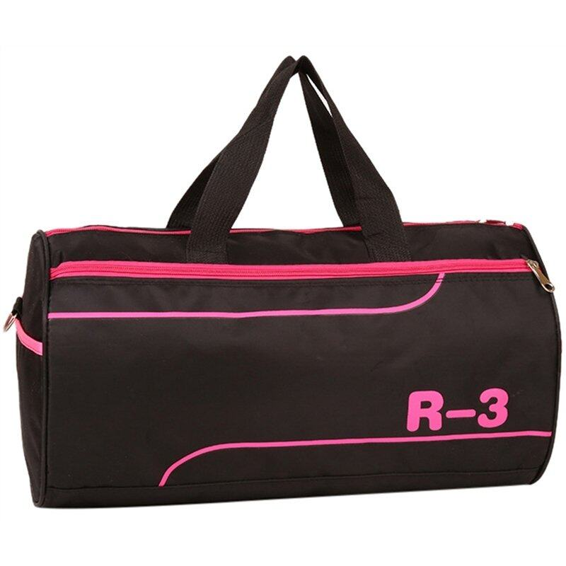 Hình ảnh Barrel Shaped Nylon Hand Luggage Shoulder Bag Duffle Bags (Pink) - intl