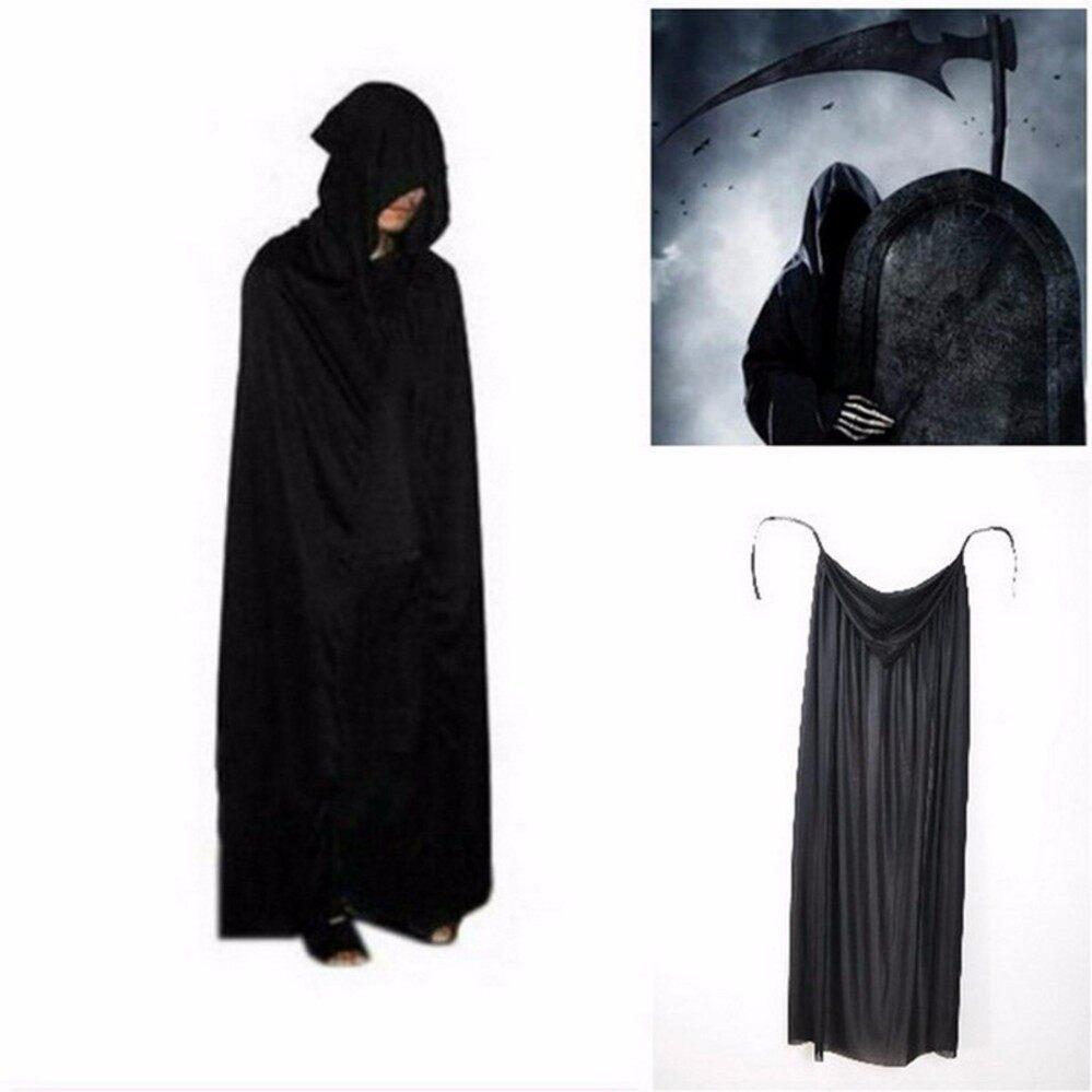 Besthalloween พร้อบสำหรับการแสดงแบบกำหนดเอง Death Hoody เสื้อคลุมปีศาจยาวปลอกทิปป์สีดำ - Intl.