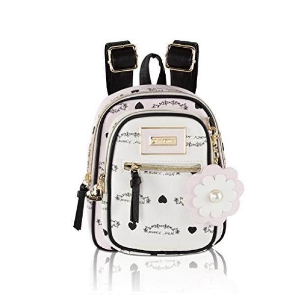Betsey Johnson Banner Print Front Pocket Mini Travel Backpack - Blush Multi - intl