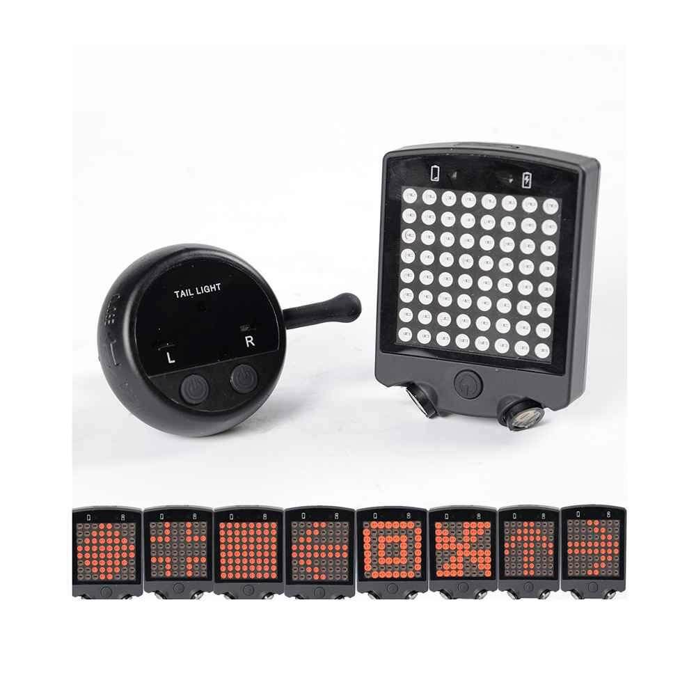 Bicycle Rear LED Tail Light Wireless USB Remote Control Turn Signals laser US