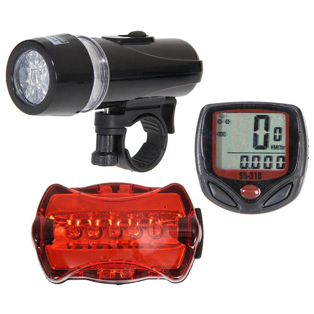 Bicycle Speedometer + 5 LED Mountain Bike Cycling Light Head + Rear Lamp New - intl