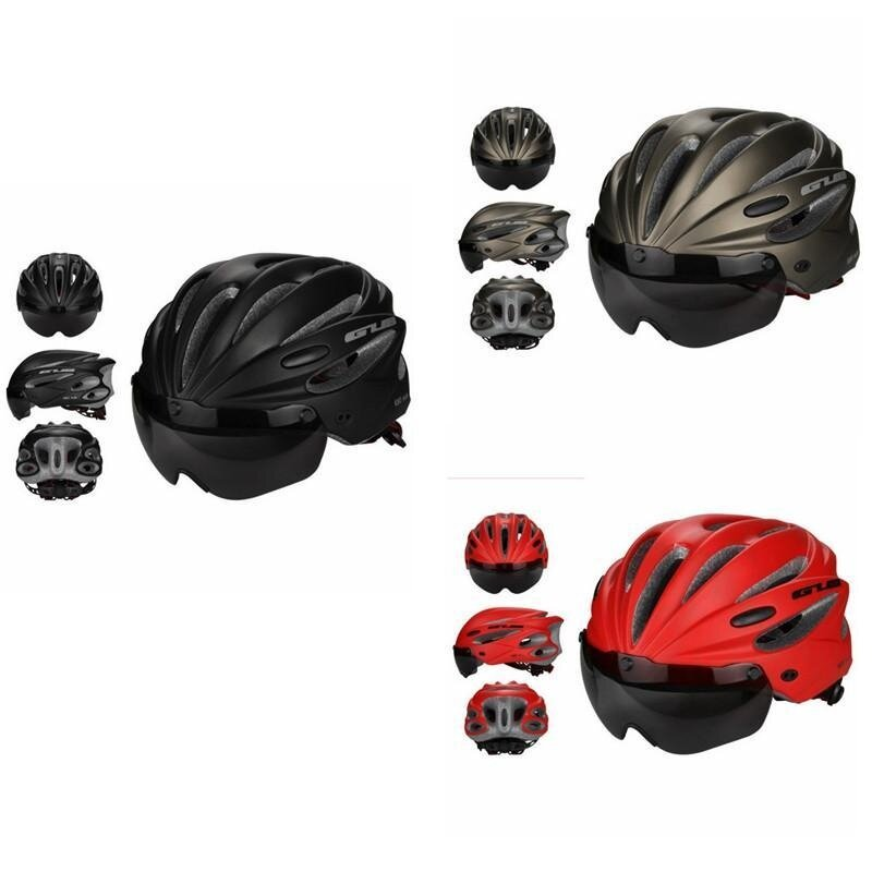 จักรยานหมวกกันน็อกขี่จักรยานที่ถอดออกได้หมวกกันน็อคสำหรับขี่จักรยาน Visor Shield ปรับได้ผู้ชายผู้หญิงแผนที่จักรยานภูเขาความปลอดภัยของหมวกกันน็อคป้องกัน (สีเทา) - Intl.