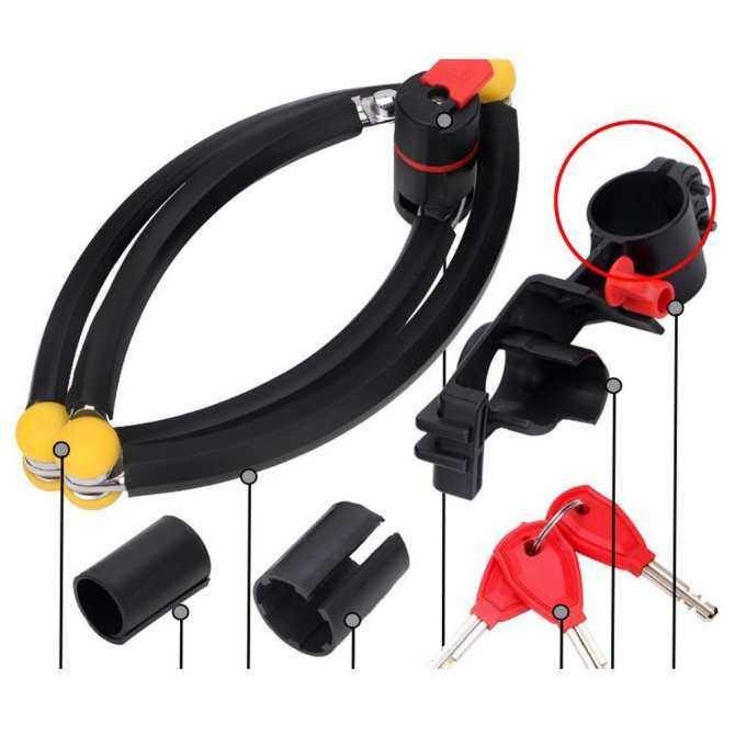 Kunci Sepeda, 3 Sendi Paduan Baja Lipat Sepeda Mengunci Anti Hidrolik dengan Braket Mounting Gratis Warna: hitam-Internasional