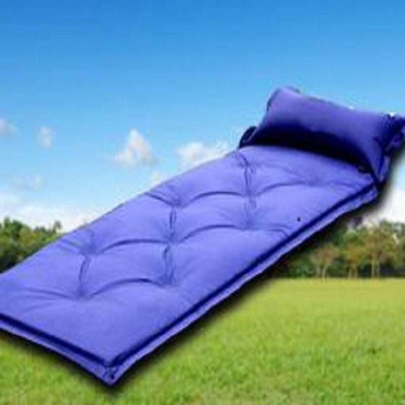 (Random Color )แผ่นนอนแคมปิ้งที่นอนทำให้พองลมด้วยตัวเอง MAT W/หมอนเตียงอาบแดดแบบพกพา - INTL