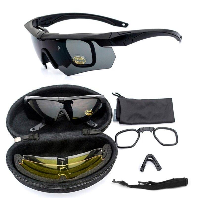 Uv400 Perlindungan Bersepeda Kacamata Taktis Kacamata Militer Kacamata Tentara 3 Lensa Tr90 Kacamata Safety (uv400 Protection) By Toptem.