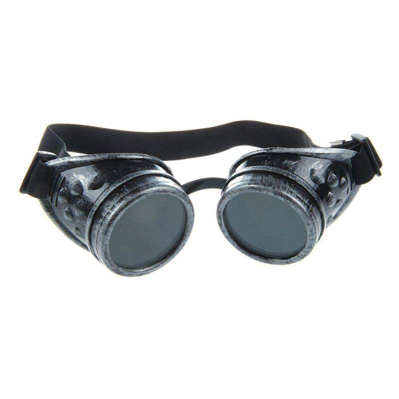 Cyber Goggles Steampunk Welding Goth Cosplay Vintage Goggles Rustic Ancient (Silver/Black) (Intl)