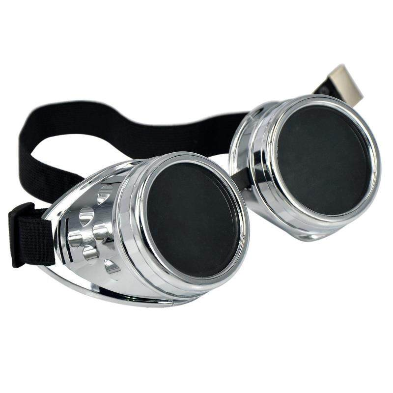 Cyber Goggles Steampunk Welding Goth Cosplay Vintage Goggles Rustic Bright (Silver/Black) (Intl)