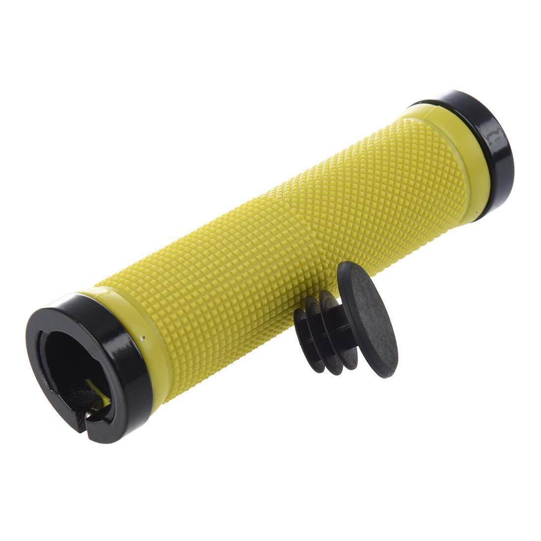 Double Jalan Gunung MTB BMX Bersepeda Kunci Sepeda Di Grip Pengunci Pegangan Stang (Kuning) (Intl)-Intl