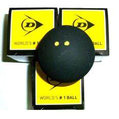Dunlop Pro Double Yellow Dot Squash Ball X 3 Pcs (black) By Sportshorizon.com.