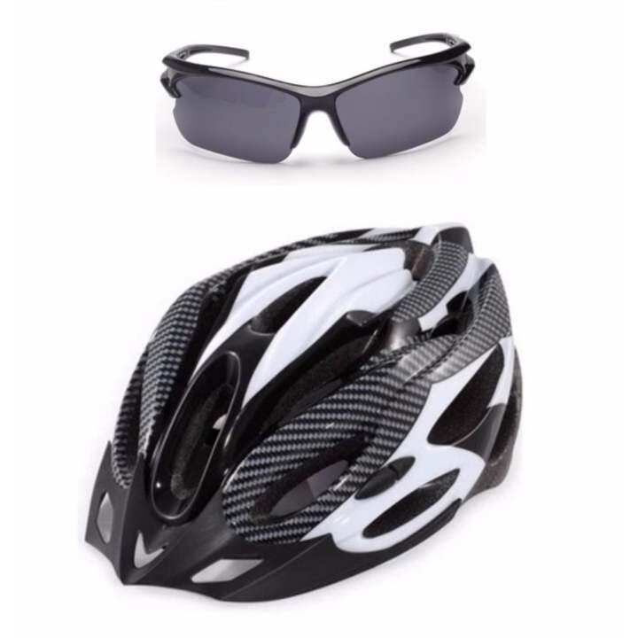 EcoSport Ultralight Cycling Helmet White + UV400 Cycling Glass