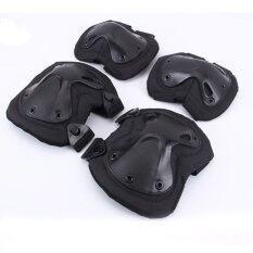 Egc X-Type Tactical Kneepad Elbow Pad Guard Elbowpads Knee Pads Kneecap Sport Ware Protection Cs Gear Equip 4pcs Sets(black) By E-Go China.