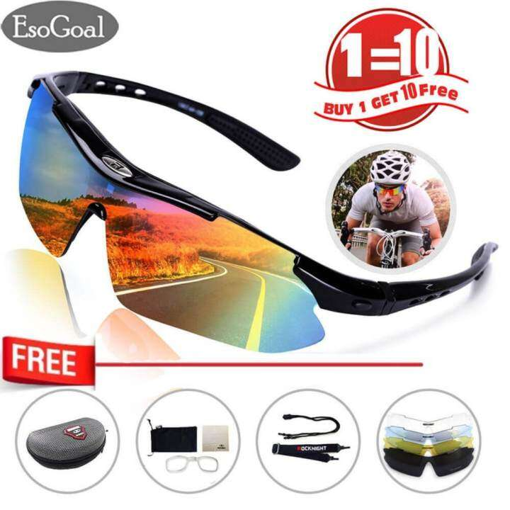 EsoGoal Polarize Sports Cycling Sunglasses for Men Women Cycling Riding Running Glasses with 5 Interchangeable Lenses