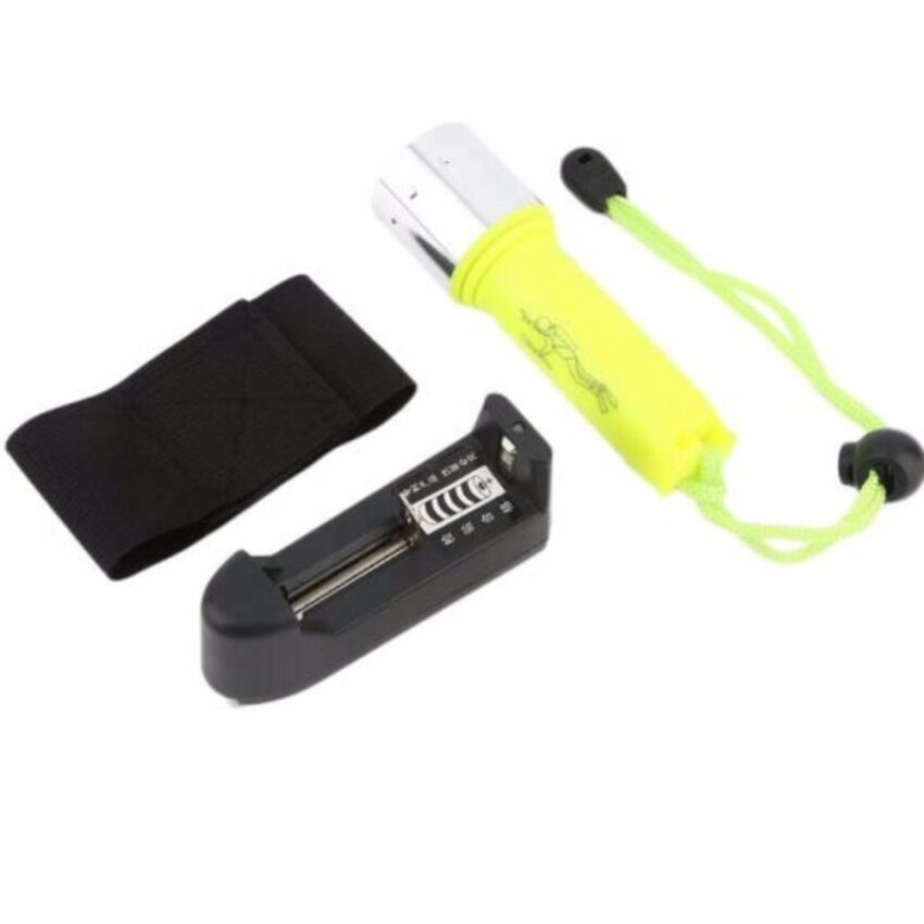 Get The Best Price For Ffy Diving Flashlight Waterproof 2000Lm T6 Led Portable Torchunderwater 50M Flashlights Light Lamp Eu Charger Yellow Intl