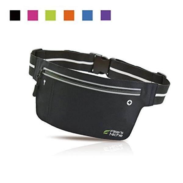 Tukang Niche Ultra Slim Kebugaran Olahraga Tas Sepinggang Paket, Tahan Air Reflektif Adjustable Sabuk Lari Elastis, Cocok iPhone X 8 PLUS sempurna untuk Bersepeda Di Luar Ruangan, Berjalan, Hiking, Tak Terbatas Hitam-Intl