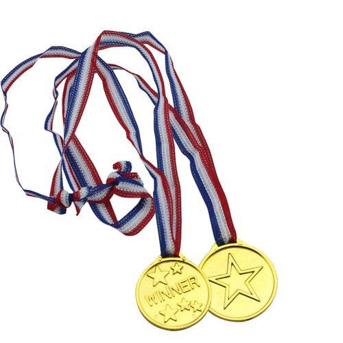 Hình ảnh TOMSOO 12pcs/pack Children Gold Color Plastic Winners Medals Sports Day Party Prize Awards Toys For Party Decor(...) popular - intl