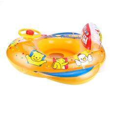 Hình ảnh gaoshang Children Inflatable Swim Ring Float Seat Boat with Steering Wheel Trumpet Boat, Yellow