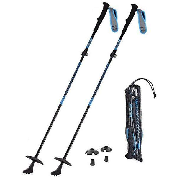 HUKOER HUKOER Trekking Poles Aluminum Ski Poles Walking Sticks Adjustable 42-53 Retractable Anti-